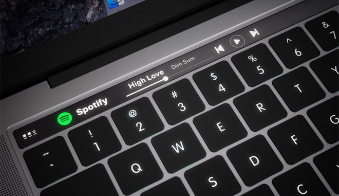 A concept render of the MacBook Pro touchbar.