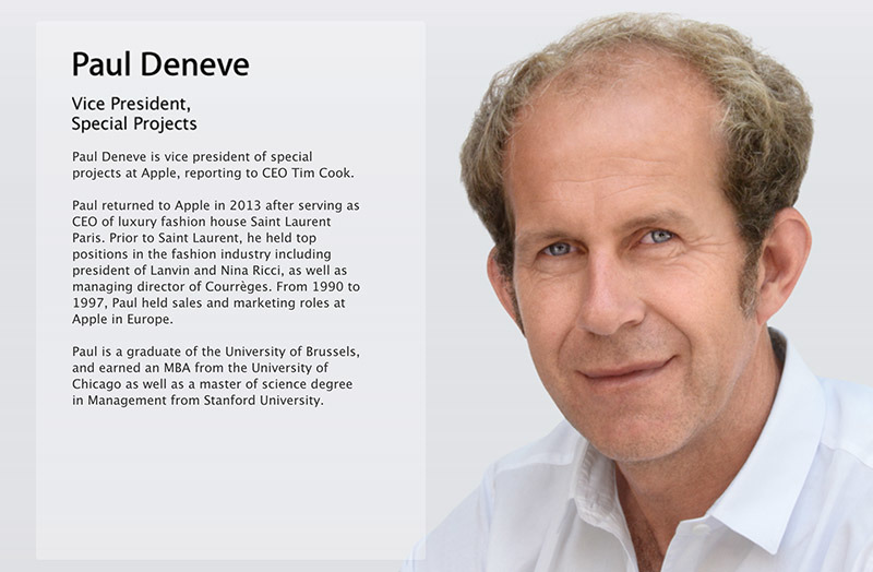 Apple scrubs VP of Special Projects Paul Deneve's bio page from website