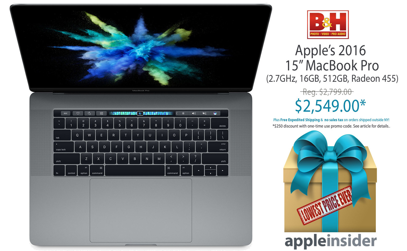 Last call! Killer Deal: Apple's 2016 15-inch MacBook Pro (2.7GHz, 16GB, 512GB, 455) for $2,549 ($250 off) with free expedited shipping & no tax outside NY