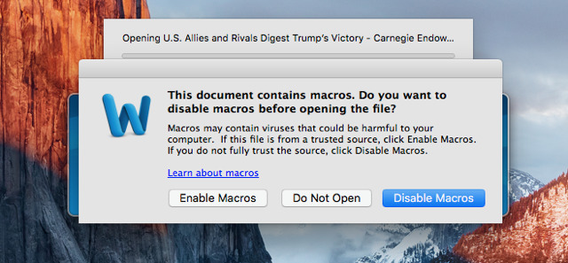 Mac Malware Discovered in Microsoft Word Document with Auto-running Macro