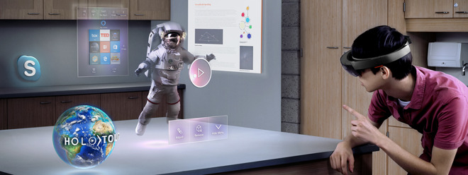 A simulation of Microsoft's HoloLens AR glasses in action.