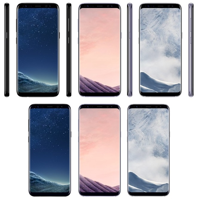 The S8 (top) and S8+ (bottom) in 'black sky,' 'orchid grey,' and 'arctic silver' colors.