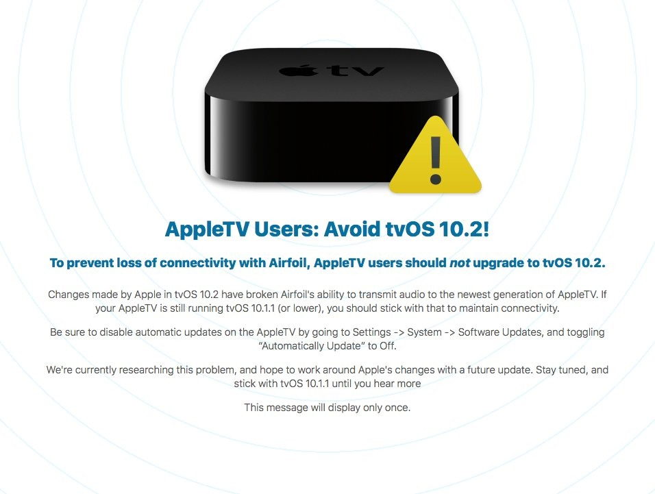 tvOS 10.2 update requires AirPlay hardware verification, breaks third-party streaming apps