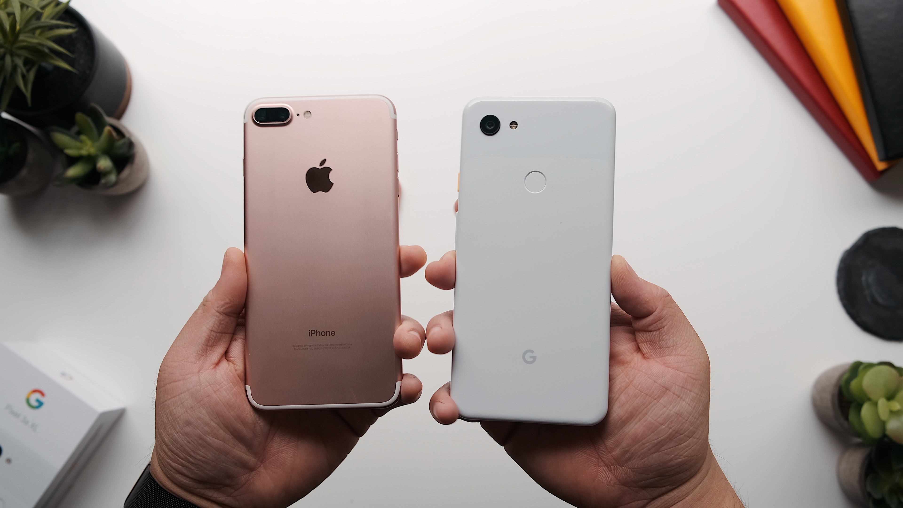 Compared: Google's Pixel 3a XL vs. Apple's iPhone 7 Plus