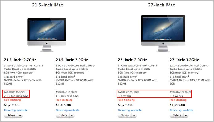 iMac Shipping Delay