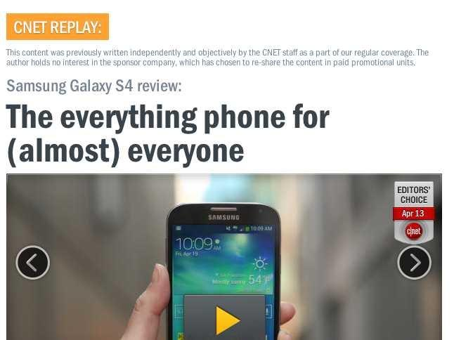 CNET Galaxy S4 promoted review