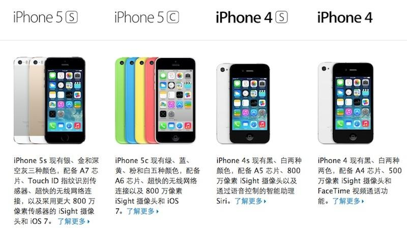 iPhone range in China