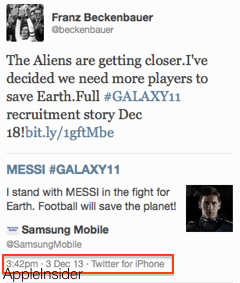 Samsung tweets from iPhone