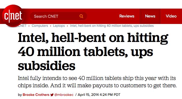 Intel buying Atom tablet market share