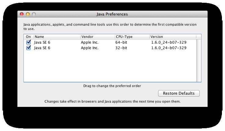 Mac OS X Lion Java