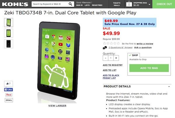 Kohl's bad Android tablet