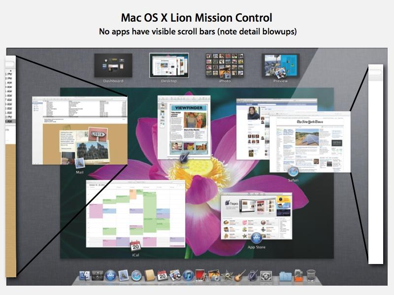 Mac OS X Lion scroll bars