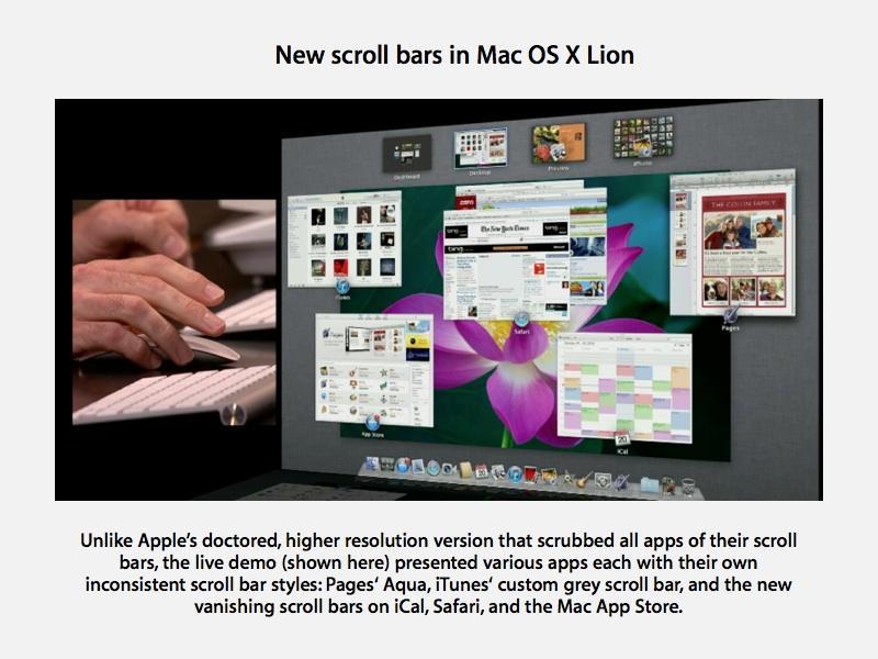 Mac OS X Lion scroll bars