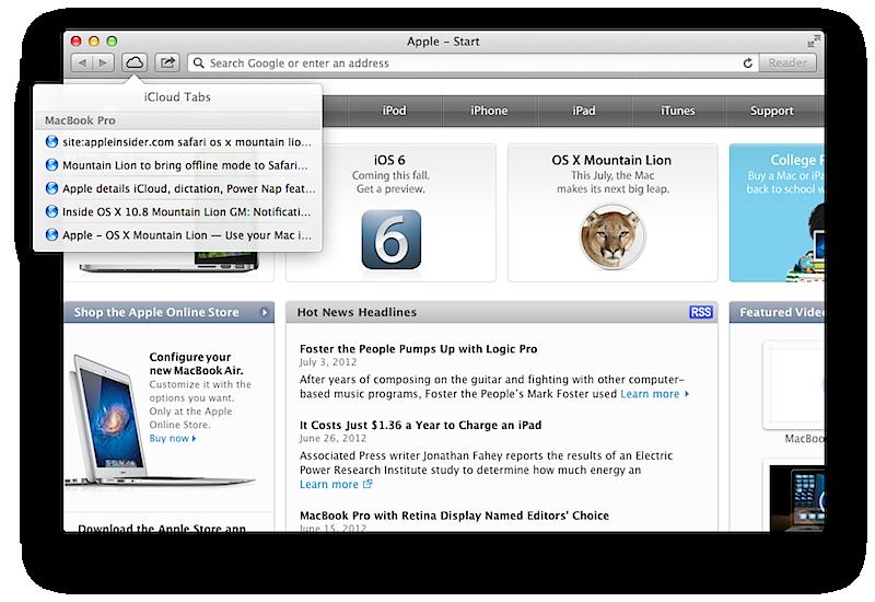 iCloud tab listings