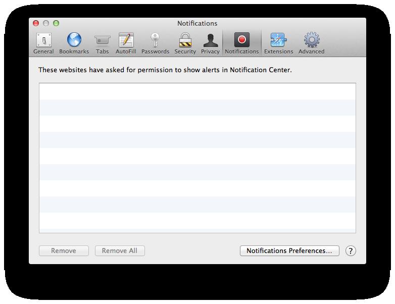 Safari notifications preferences