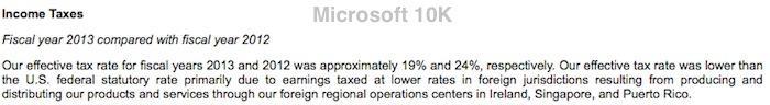 Microsoft 19% tax rate