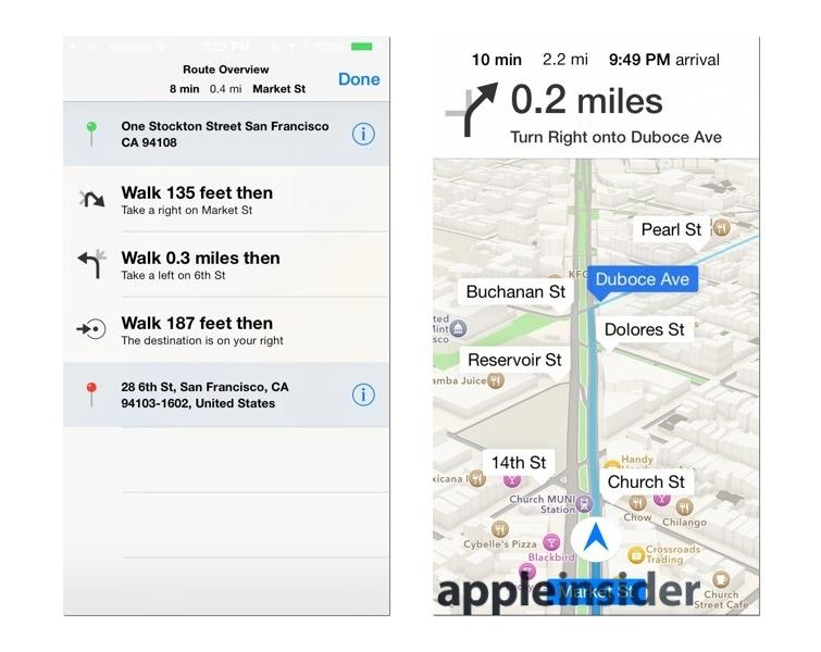 iOS 7 Maps, Direction signs