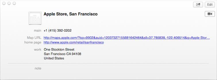 OS X Mavericks Contacts
