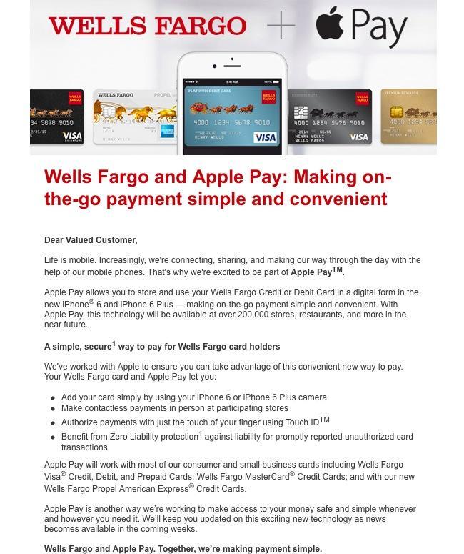 Wells Fargo Apple Pay