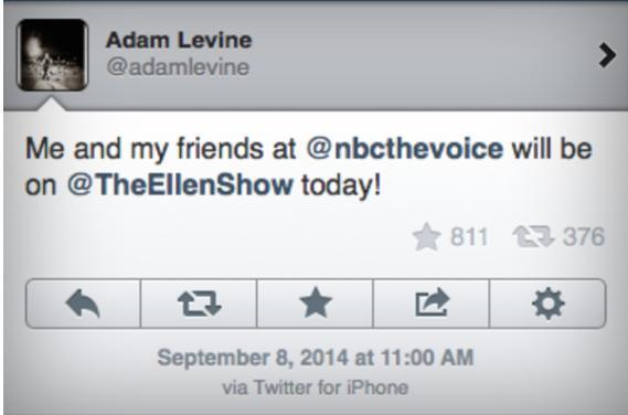 Adam Levine iPhone tweet