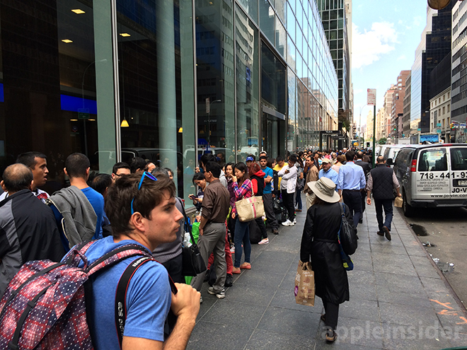 The line outside Apple's flagship Fifth Avenue store in Manhattan