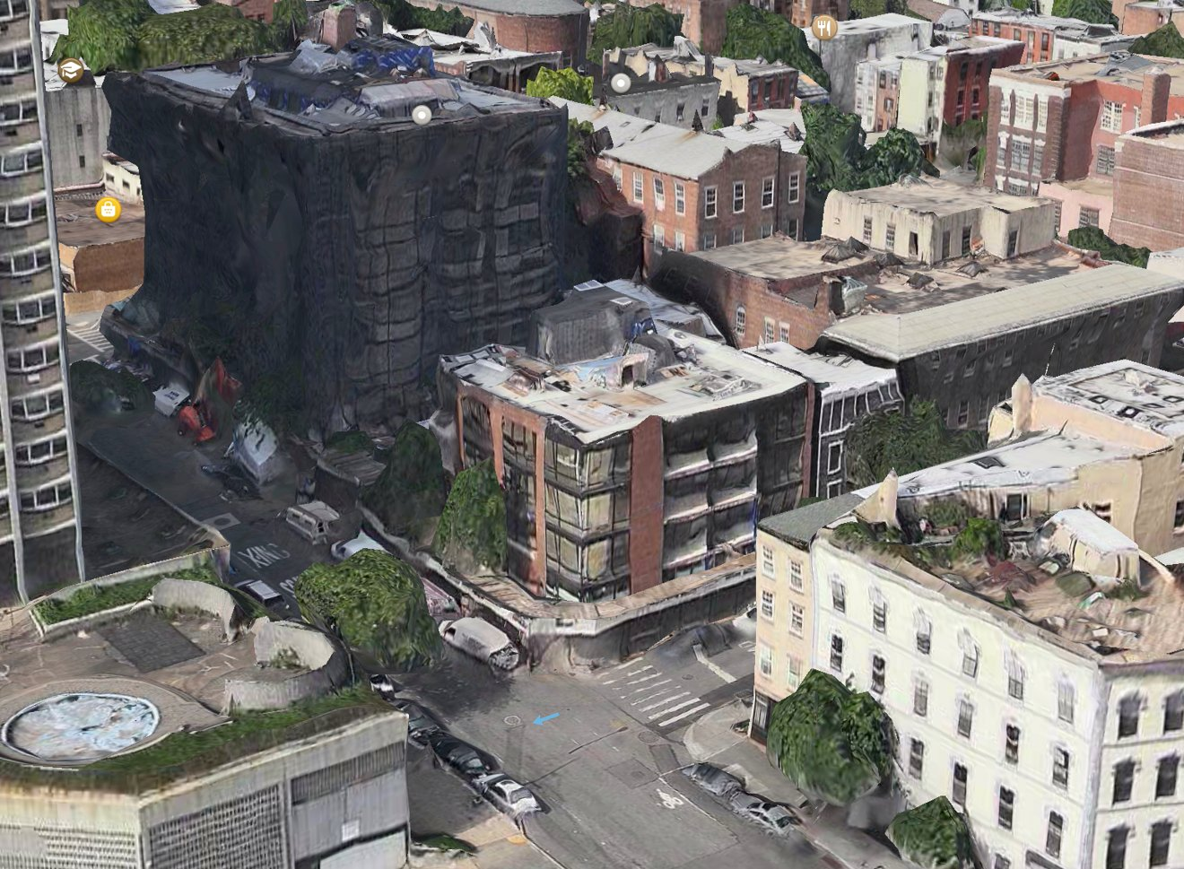 An example of street-level distortion in Apple's Flyover