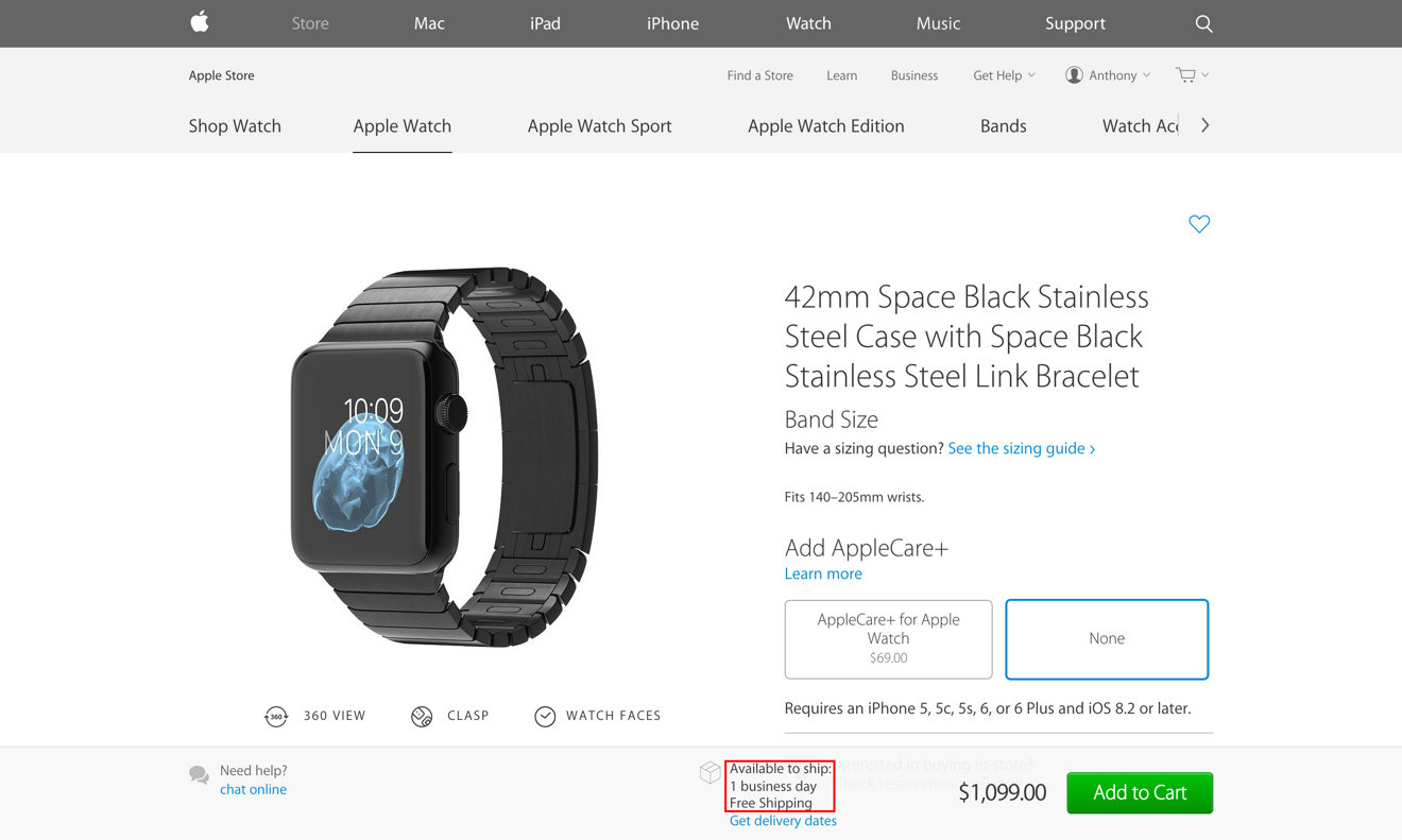 Ship Times For All Non Edition Apple Watch Models Improve To One