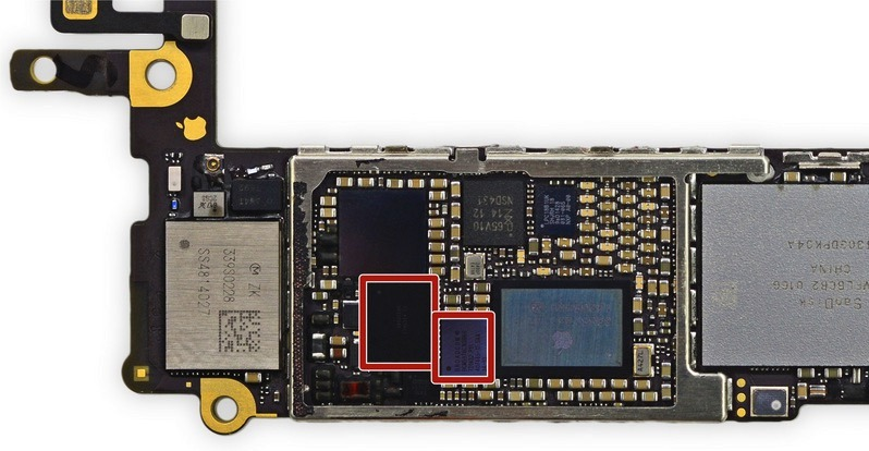 Location of the touch controller chips - photo courtesy iFixit