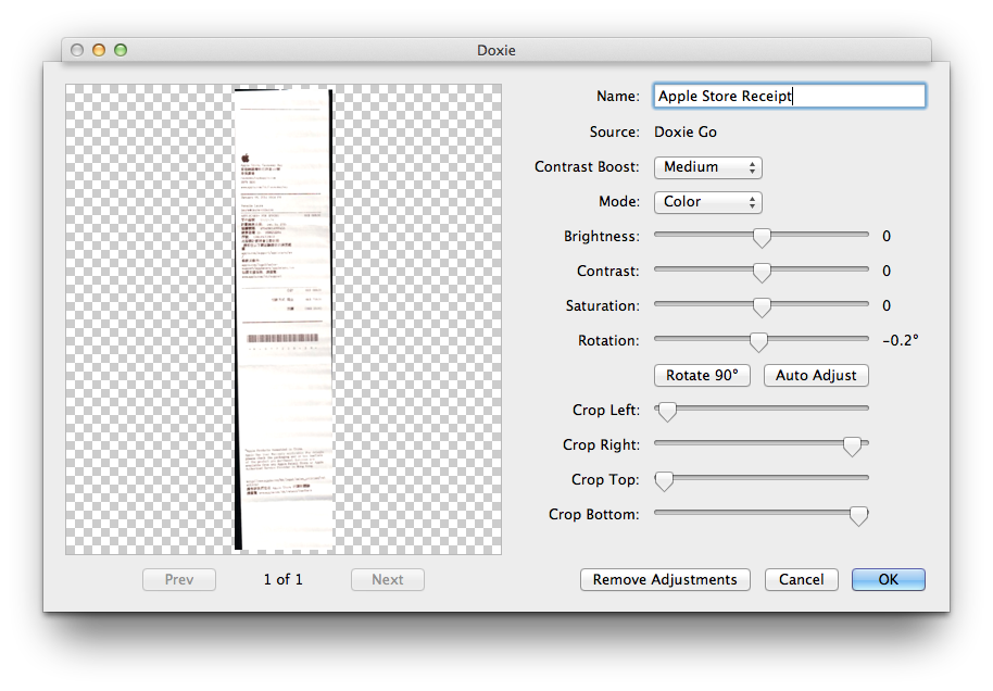 Doxie's software does allow users to make a variety of alterations to each document.