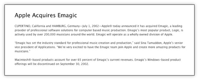 The last acquisition Apple overtly acknowledged was its 2002 purchase of the company behind Logic