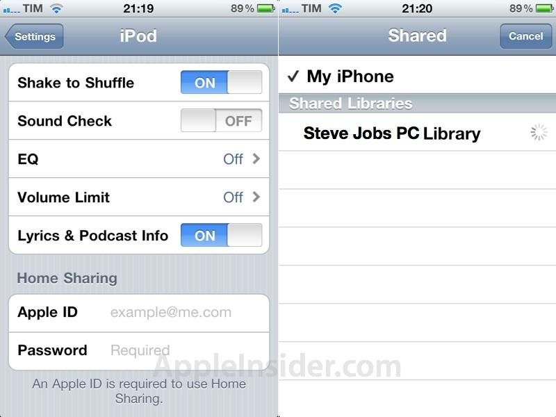iTunes iOS Home Sharing