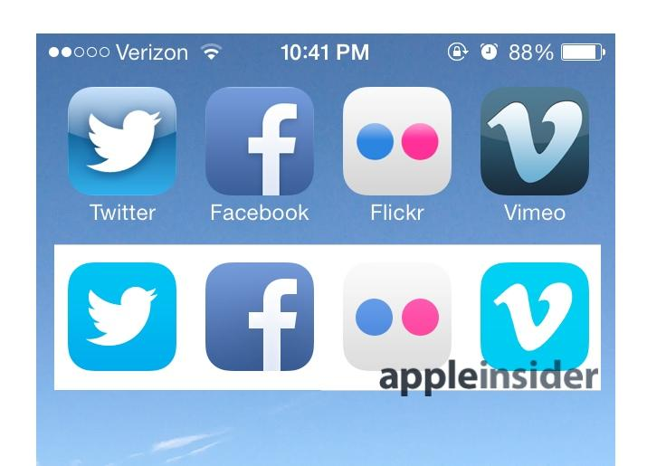 iOS 7 sharing app icons