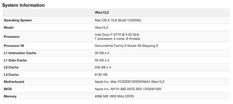 Alleged iMac benchmarks