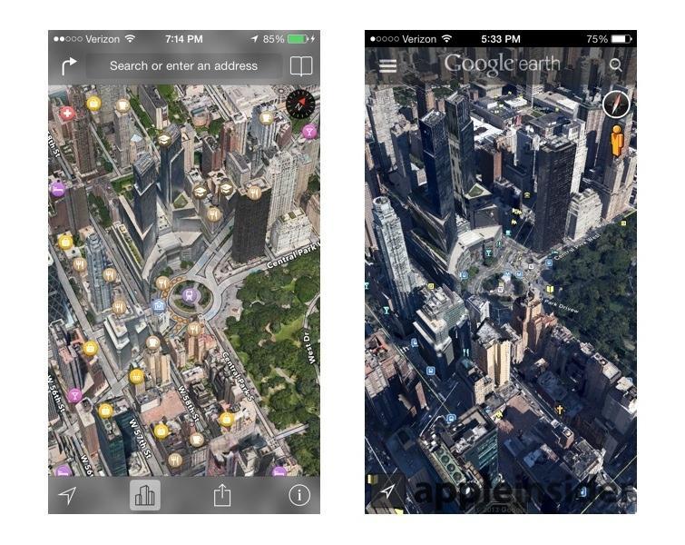 Apple Flyover vs Google Earth
