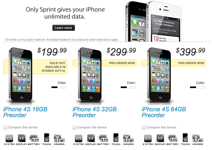 iPhone 4S preorder, Sprint