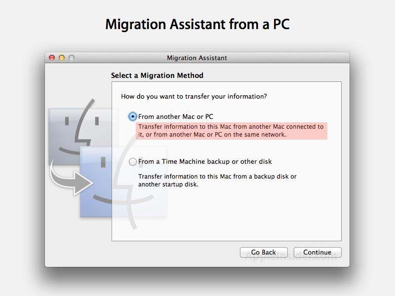 Migration Assistant from PC