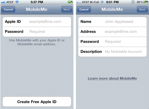 MobileMe Login iOS 4.2