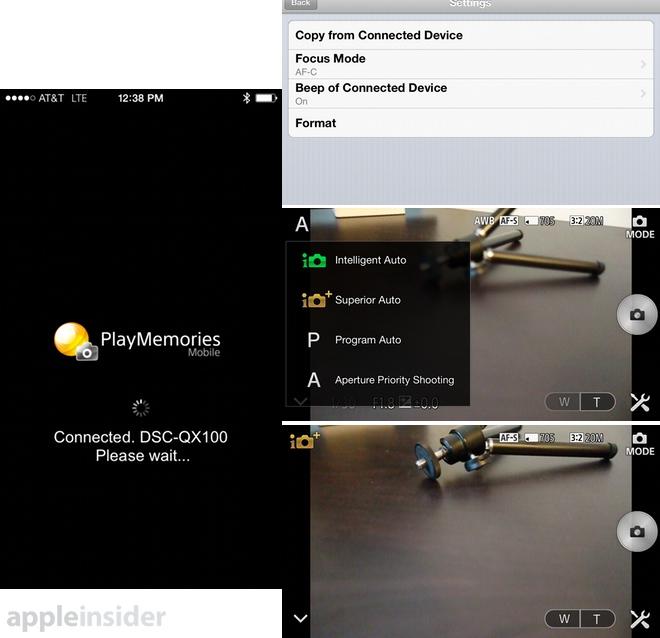 QX100 Screens
