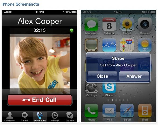 Skype 3.0 for iPhone screenshots