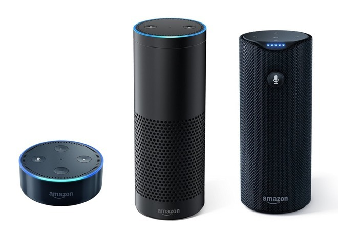 Amazon's Echo range, a prime competitor to the HomePod