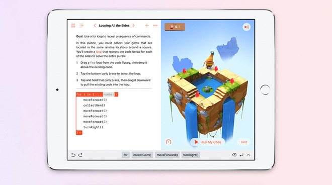 Swift Playgrounds on iPad, showing a user how to code a 'for loop'