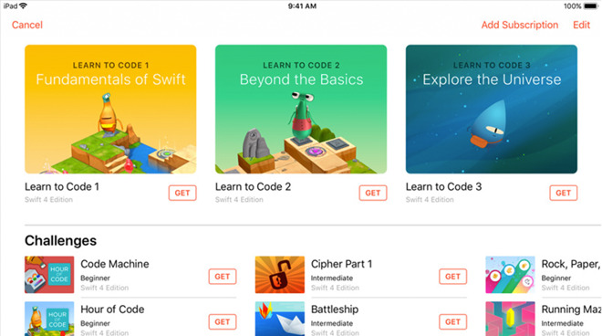Additional lessons that can be downloaded via a Swift Playgrounds subscription