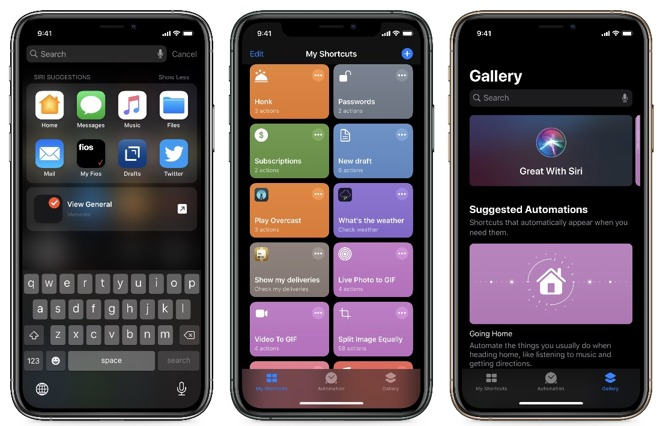 Shortcuts can be suggested, created, or added from the Gallery