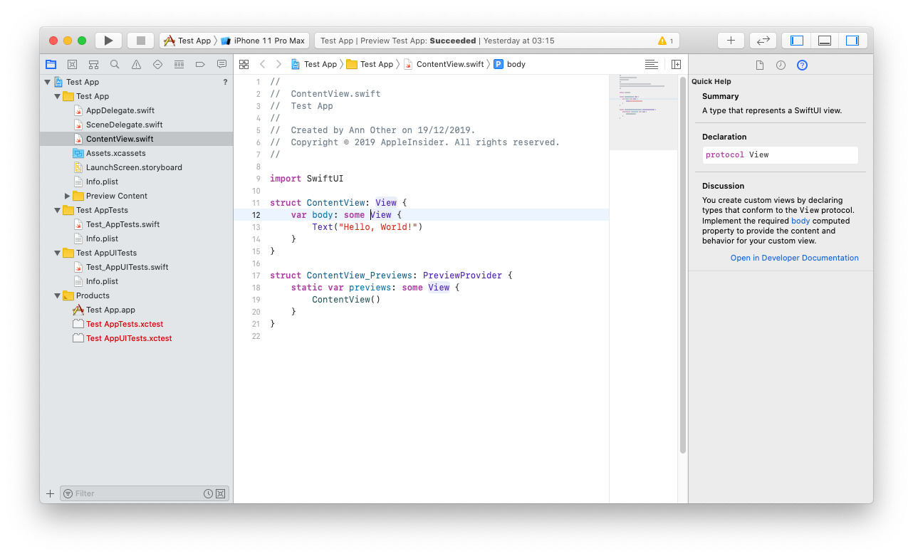 An example of how an app can appear in Xcode as it gets developed