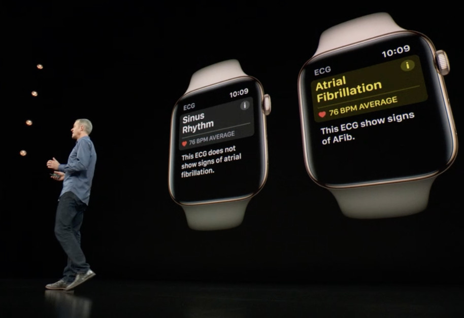 On stage discussing new Apple Watch health features.