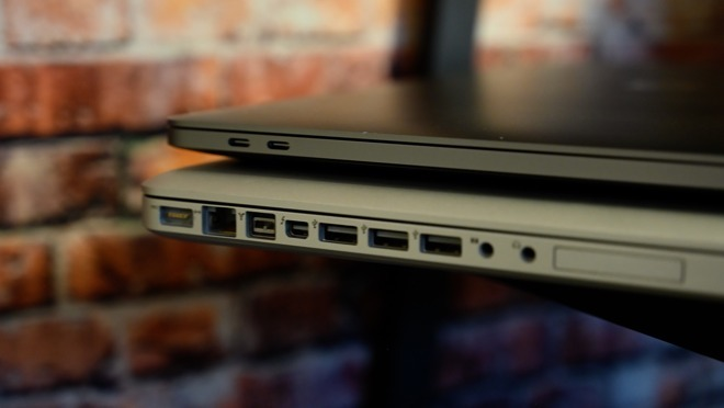 The USB-C ports take up much less space, but don't offer as as many built in connections.