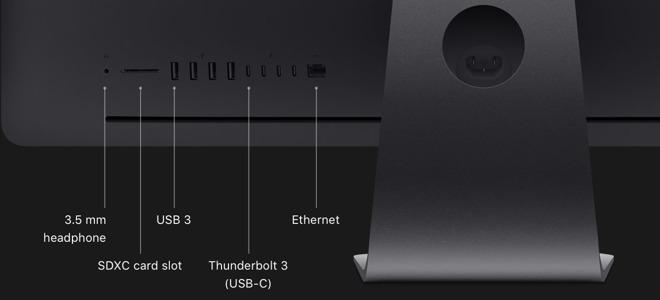 The iMac Pro has four Thunderbolt 3 ports