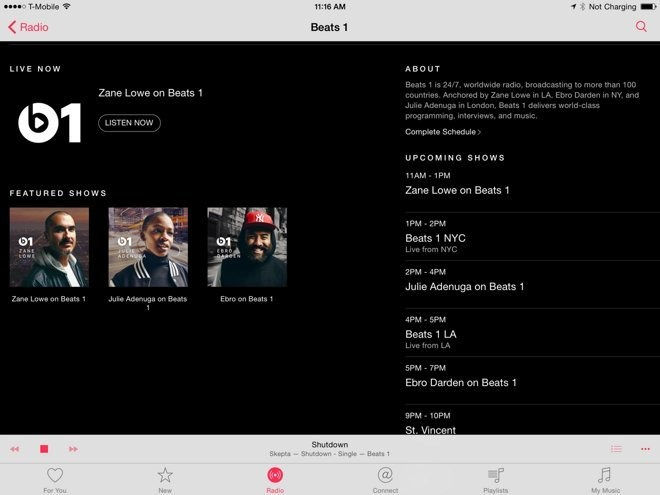 Beats1 Radio continues to air shows live everyday, for free