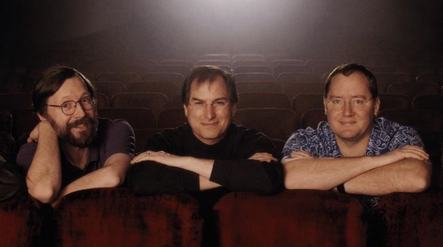 Ed Catmull, Steve Jobs, and John Lasseter of Pixar