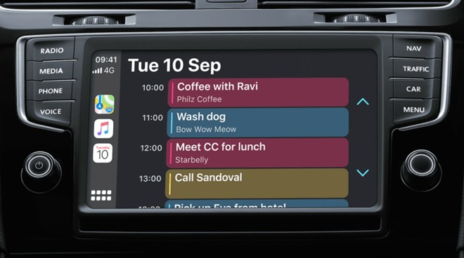 The Calendar view in CarPlay